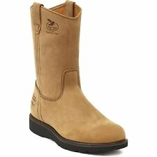 Men's Georgia Boot Wellington tan NIB leather save 30% wide sizes too best deal