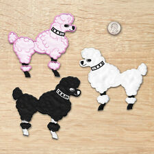Poodle Patches - Large 50's Poodle Iron on Appliques in Blk or Pk or White