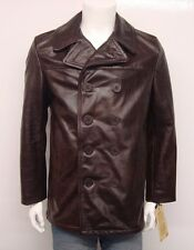 SCHOTT NYC MEN'S COWHIDE LEATHER FITTED PEACOAT JACKET BROWN SELECT SIZE
