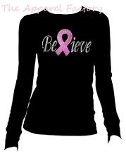 Rhinestone Breast Cancer BELIEVE Junior's Round Long Sleeve T Shirt pink ribbon