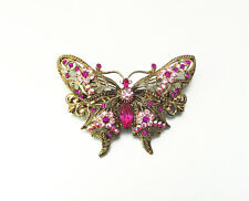 BUTTERFLY HAIR BARRETTE CLIP CRYSTAL ANTIQUE GOLD TONE