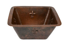 "Premier Copper Products 15"" Square Hammered Copper Bar Sink - 3.5"" Drain Size"