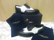Mens Loake Lace Up Brogue Shoe, Black & White Leather, Sloane