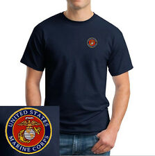US Marine Corps/Logo EMBROIDERED Navy Blue T Shirt *New* USMC