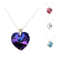 GENUINE SWAROVSKI CRYSTAL XILION HEART PENDANT, 925 STERLING SILVER NECKLACE