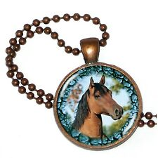 """Horse Play Bay Portrait on Crystal Pendant w/ 24"""" Matchng Ball Chain"""