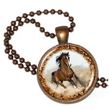"""Horse Play Beauty on Crystal Pendant w/ 24"""" Matchng Ball Chain"""