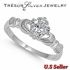womens irish claddagh heart clear cz sterling silver ring size 4 5 6 7 8 9 10