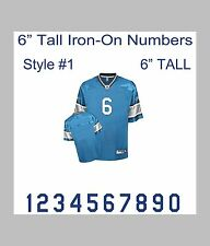 "6"" Tall Iron-On Number for Football Baseball Jersey Sports T-Shirt Style #1"