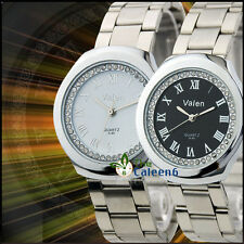 NEW Fashion Dress Luxurious Lady Crystal Quartz Wrist Watch Stainless Steel Band