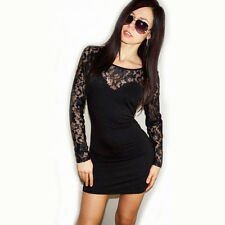 "NEW! ""Arden B"" Sexy Lace Back Clubwear Cocktail Black Lace Sleeve Mini Dress S M"