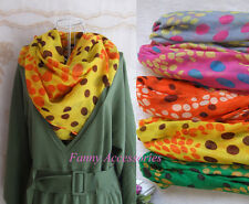 Women Large Soft Voile Polka Dots Scarf Shawl Stole Tie Vivid Bright Colors