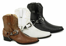 Mens Short Ankle Length Buckle Snake Skin Full Zip Western Cowboy Boots New