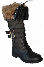 Women's Winter hairy Zipper Buckle Lace Up Military Knee High Boot Size 6~10