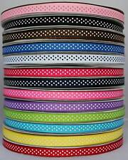 10mm (3/8'') Polka Dot Grosgrain Ribbon 5m Metres multiple colors U pick