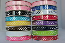 10mm (3/8'')Spotty Polka Dot  GROSGRAIN RIBBON on 5 Yard Roll - 15Colors  U Pick