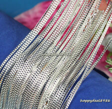 """Wholesale 10pcs Solid Silver Plated 1mm Box Chain Lobster Clasp Necklace 16""""-24"""""""