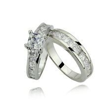 Classic 1.25ct 2PC Engagement Wedding Band Ring Set UK SELLER SIZE I-U .  R29