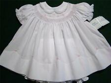 HAND~EMBROIDERED NEWBORN/3M SMOCKED 2PC DRESS W/FLORAL EMBROIDERY & LACE~reborn