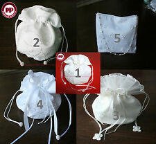 White /Ivory Satin Bridal Dolly Bag / Wedding Flowergirl Handbag