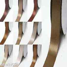 "DoubLe Faced Satin Ribbon 5/8"" /16mm Wedding 5 Yards Ivory to Brown for bow"