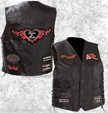 Black Leather Ladies Womens Motorcycle Biker Vest Lady Rider with Patches Plus