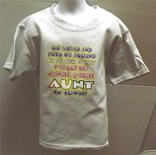 MEANEST BADDEST AUNT IN TOWN Kids LT Gray Tee Shirt 2-4=XS Thru 14-16=LG NWOTS
