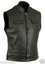 New SONS OF ANARCHY Cow Analine Bikers Leather vest