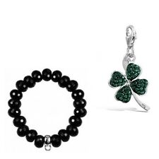 Sterling Silver Stone Set Clover Charm with FREE BRACELET