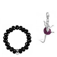 Sterling Silver and Pink CZ Ballerina Charm with FREE BRACELET
