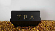 Wooden Tea Storage Box 6 Compartments Container White Brown Black