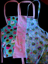 New Kids & Adult Kitchen Baking Aprons 100% Cotton Washable Reversible Styles