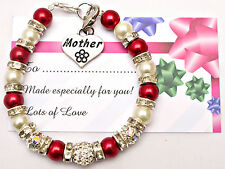 Personalised Mum Sister Niece Daughter Charm Bracelet Free Card & Gift Bag