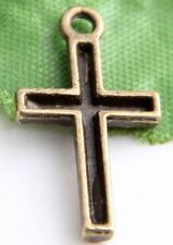 50/140Pcs Bronze Plated Cross Charms Pendants 22x12mm