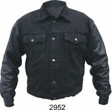 A2952 Men's Black 14 oz. Denim jackets Leather sleeves
