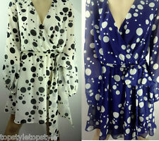 **ASOS** DELICATE CHIFFON WRAP DRESS IN SPOT PRINT NAVY AND CREAM RETAIL £40.00