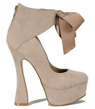 Capture Taupe Suede Chunky Heel Platform Pump Ankle Boots