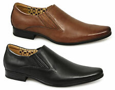 Front ENZO Mens Leather Slip On Resin Sole Pointed Formal Office Shoes Black/Tan