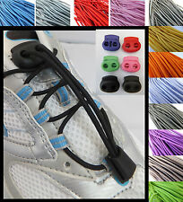Elasticated Triathlon Laces with a choice of COLOURED cord locks/laces shoe