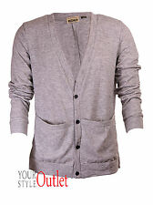 BRAND NEW MENS EX CRAFTED GREY KNITWEAR CARDIGAN JUMPER SIZES S-XL RRP£24.99