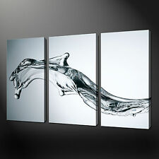 WATER SPLASH BLACK AND WHITE 3 PANELS CANVAS PRINT READY TO HANG