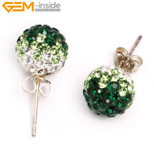 10mm Pave Beads Crystal Rhinestone Disco Ball Beads Silver Stud Earrings