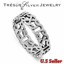 sterling silver celtic design 6mm band ring size 6 7 8 9 10 11 12 mens womens