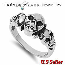 .925 sterling silver skull head biker gothic band ring sz 6 7 8 9 10 11 12 13 14