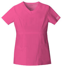 Scrub Cherokee Workwear Core Stretch V-Neck Top 24703 Shocking Pink Buy 3 SHP $6