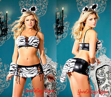 Sexy WHITE TIGER Costume ANIMAL FAUX FUR Black Lame' Wrist Cuffs Ears 4 BEDROOM