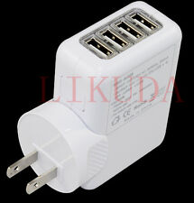 2.1A 4 USB Port  AC Wall Adapter Travel Charger For iPhone 4s 5  iPod Touch Nano