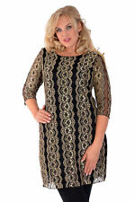 New Womens Black Gold Lace Lined 3/4 Sleeve Evening Dress Nouvelle Plus Size