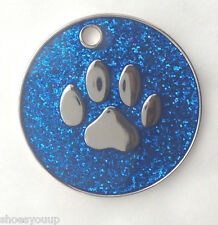 Personalised DOG CAT PAW PRINT Blue Glitter Identity ID Tag Engraved