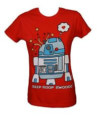 Cosmic Robot Love R2D2 Zombie Star Wars Cartoon Red Fitted Short Sleeved Tshirt